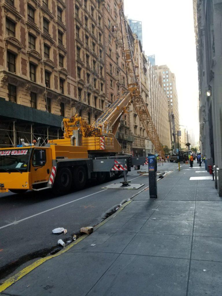 Setting Up Crane In Street