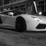 Black and White Picture of Lamborghini in New York
